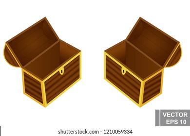 A game. Chest of Gold Cartoon button. Bright. Shine congratulation. Win. For your design