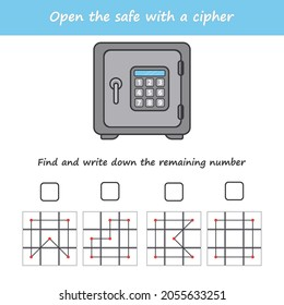 A game for children. Open the safe with a cipher. Cross out numbers by algorithm. IQ test. A game for the development of logic. Vector illustration for printing.