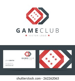 Game club or casino logo template with business card. Vector illustration.