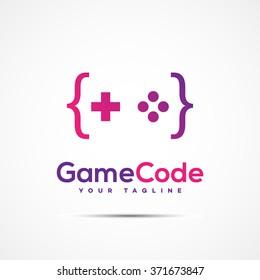 Game code logo template design. Vector illustration.