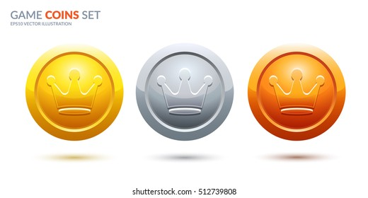 Game coins set. 3 place medals with crowns. Eps10 ranking medals vector illustration.