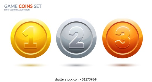 Game coins set. 3 place medals for game user interface. Award vector illustration.