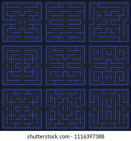 Game concept maze. Modern arcade video game interface design elements. Game world. Computer or mobile game screen.