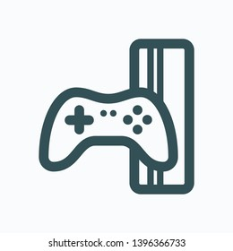 Game console with gamepad isolated vector icon