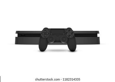 Game console with joystick isolated on white background. Vector illustration. Eps 10.