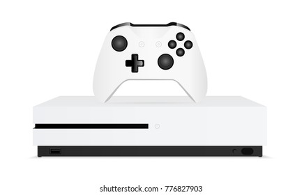 Game console with joystick isolated on white background. Vector illustration