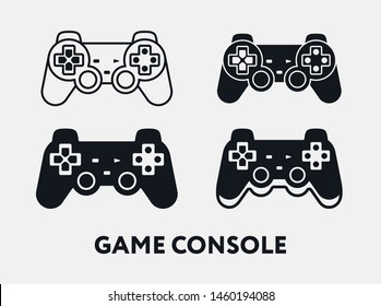 Game Console Play Station Controller Joystick. Vector Icon Set.