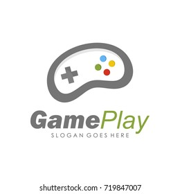 Game console and video games stick logo design template