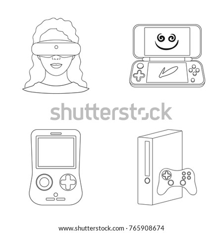 332d7f1e065a Game console and virtual reality outline icons in set collection for design. Game Gadgets vector