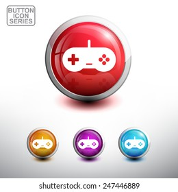 Game Controller Icon. Glossy Button Icon Set. Vector Illustration