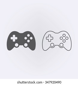 Game controller or joystick outline icon . Vector illustration