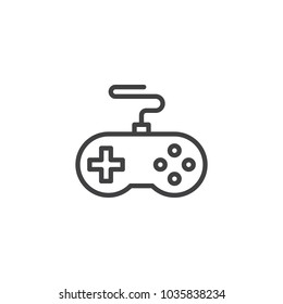Game controller outline icon. linear style sign for mobile concept and web design. Joystick simple line vector icon. Symbol, logo illustration. Pixel perfect vector graphics