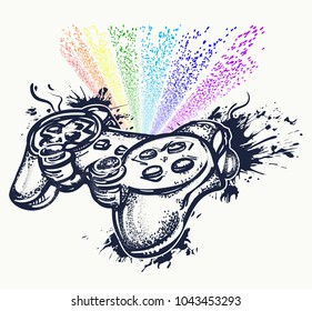 Game controller and rainbow tattoo and t-shirt design. Symbol of industry, video games