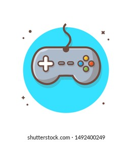 Game Controller Vector Icon Illustration. Gaming Joystick Concept. Gaming Logo Mascot White. Flat Cartoon Style Suitable for Web Landing Page, Banner, Flyer, Sticker, Wallpaper, Background