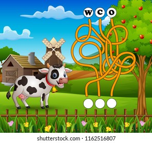 Game cow maze find way to the word