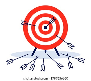 Game dart. Arrows missed hitting target mark and accurate. Multiple failed inaccurate attempts to hit archery target, shot miss. Vector flat illustration