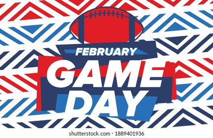 Game Day. American football playoff. Football Party in United States. Final game of regular season. Professional team championship. Ball for american football. Sport poster design. Vector illustration
