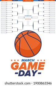 Game Day. Playoff grid, tournament bracket. March basketball playoff. Super sport party in United States. Final games of season tournament. Professional team championship. Ball for basketball. Vector