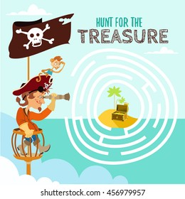 Game design concept with cute cartoon pirate and his monkey hunting big treasure.Ready concept for preschool education. Vector illustration