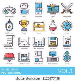 Game design icon set. Controller, sprite, mobile, leader, crossing swords, shield and armor, trophy, treasure, potion, compass, scenario, map, save, rules, hearts, life, dice, board, flag, level up.