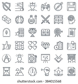 Game design icon set suitable for info graphics, websites and print media and  interfaces. Line vector icon set.