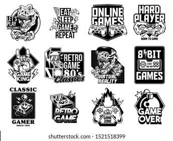 Game design logo set collection of video game geek culture gamer elements bundle. Vector illustration for print design apparel poster. Joystick game controller VR glasses lettering old game machine.