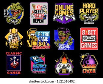 Game design logo set collection of video game geek culture gamer elements bundle. Vector illustration for print design apparel poster. Joystick game controller VR glasses lettering old game machine.