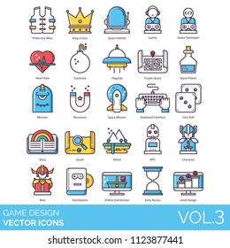 Game design vector icons. Protective wear, king crown, space helmet, developer, heart rate, explosive, flagship, quest, mana potion, monster, mission, keyboard interface, story, npc, character, level.