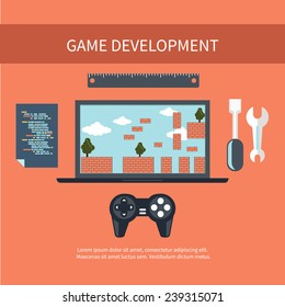 Game development concept with item icons such as laptop, joystick and coding page in flat design style