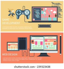 Game development concept with item icons such as laptop, joystick and coding page in flat design style. Web design computer monitor with screen of program for design and architecture