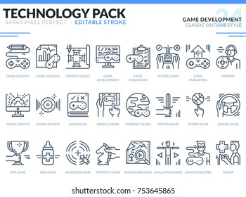 Game Development Icons Set. Editable Stroke. Technology outline icons pack. Pixel perfect thin line vector icons for web design and website application.