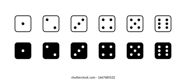 Game dice. Set of game dice, isolated on white background. Dice in a flat and linear design from one to six. Vector illustration.