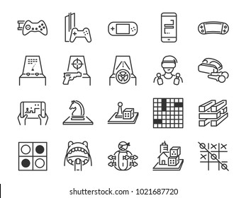 Game and entertainment line icon set. Included the icons as board game, arcade game, console, shooting, puzzle, handheld, mobile and more.