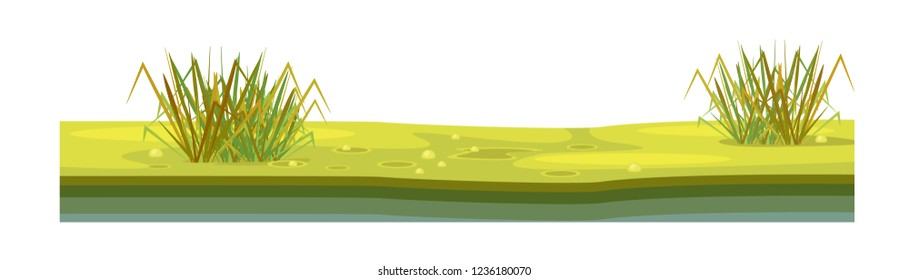 Game environment, landscape, surroundings. Texture of soil, with grass, lawn, vegetation, layer of earth covered surface for ui game, ux interface. 2D gaming platform. Vector illustration.