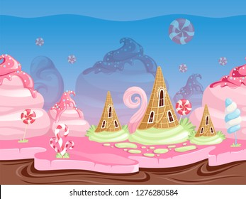 Game fantasy landscape. Seamless background with delicious dessert food candy caramel chocolate biscuits vector illustrations