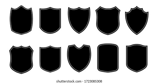 Game or football or soccer club or military police clothing badge patch blank black templates isolated set.Badge patch shield shape vector heraldic icons isolated on white background.