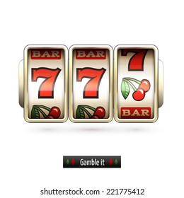 Game gamble casino slot machine realistic isolated on white background vector illustration