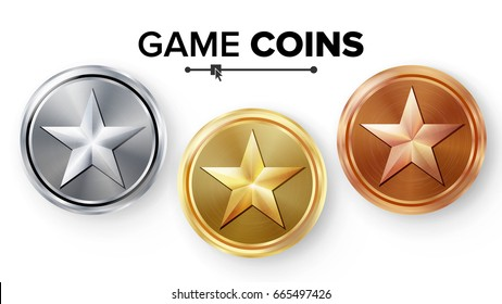 Game Gold, Silver, Bronze Coins Set Vector With Star. Realistic Achievement Icon Illustration. Rank Medals For Game User Interface, Web, Video Game Or App Interface.
