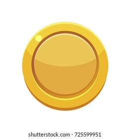 Game golden coin. Graphic user interface design element, vector illustration.