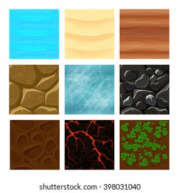 Game ground textures. Sea, sand and lava texture, interface gaming. Vector illustration