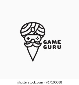 Game guru logo template design in outline style. Vector illustration.
