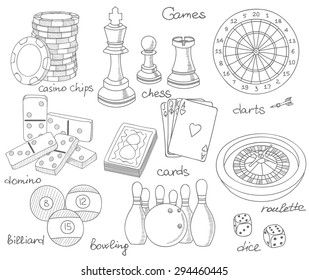 Game hand drawn icons set with casino sport and leisure games, vector illustration, playing cards, darts, chess, casino chips, billiard, domino, bowling, dice, roulette