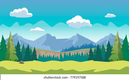 Game Horizontal Forest Background 2D games, action, adventure, hack and slash for PC computers, mobile apps and browsers