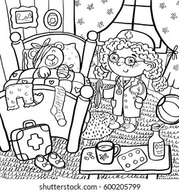 Game in the hospital, a girl as a doctor treats her toys. For kid