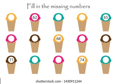 Game with ice creams for children, fill in the missing numbers, middle level, education game for kids, school worksheet activity, task for the development of logical thinking, vector illustration