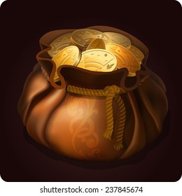 Game icon of bag with gold coins. Vector design for app user interface