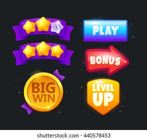 Game icon bonus and items illustration. Collection icon design for game, ui, banner, design for app, interface, game development, playing cards, slots and roulette.