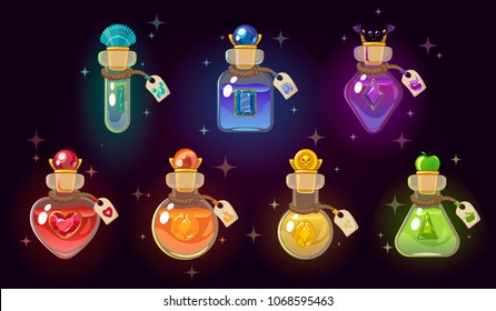 Game icon of magic elixir. Interface for mobile game. Magic bottles set. Vector illustration. Isolated on dark background.