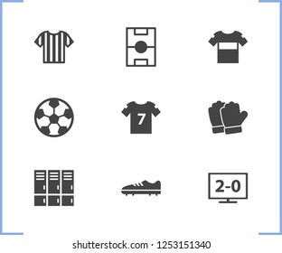 Game icon set and watch football with ball, football shirt and football shoes. Jersey related game icon vector for web UI logo design.