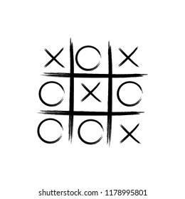 Game icon. Tic tac toe game with cross and circle. Tic tac toe on white background Vector illustration.
